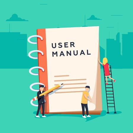 Benutzerhandbuch flache Vektor Konzept. Leute, die von ein paar Büroartikeln umgeben sind, diskutieren über Inhalte