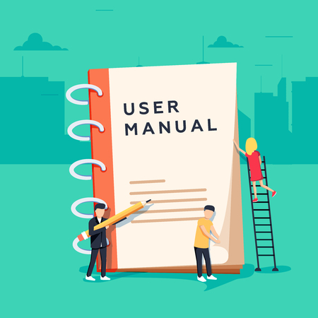 User manual flat style vector concept. People, surrounded with some office stuff, are discussing content Illusztráció