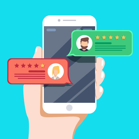 Review rating bubble speeches on mobile phone vector illustration. Flat style smartphone reviews stars with good and bad rate and text, concept of testimonials messages, notifications and feedback