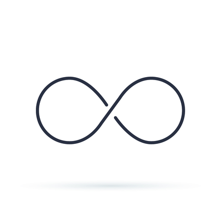 Infinity icon logo. Unlimited vector illustration, limitless symbol. Black contour of eight, thickness and style isolated on white.