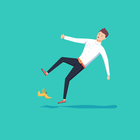 Flat style businessman slipped on a banana peel. Business accident concept. Fall hazard vector illustration isolated on background.