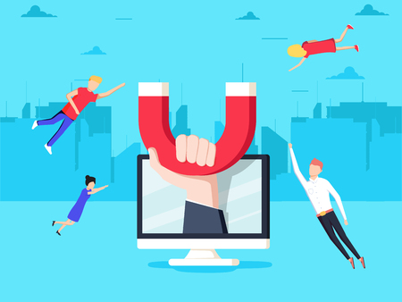 Attracting online customers. Hand with magnet attract people and money in screen. Customer retention strategy, Digital inbound marketing, Customer attraction flat vector banner.  イラスト・ベクター素材