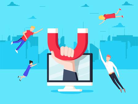 Atrayendo clientes en línea. La mano con imán atrae a personas y dinero en la pantalla. Estrategia de retención de clientes, Inbound marketing digital, Banner de vector plano de atracción de clientes.