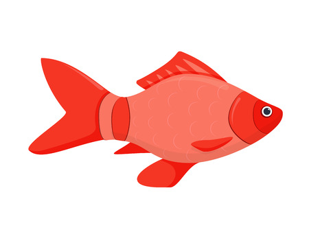 A colored flat vector icon of a fish. Isolated on white background river fish cartoon. Bright marine nature fauna. Sea life