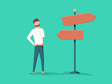 Cute cartoon confused businessman standing near pointer with different directions and choosing route, way, perspective. Banque d'images - 95222532