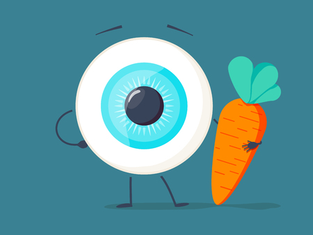 Strong healthy white eye, eyeball doing exercises with dumbbells and carrot character. Vector flat cartoon illustration Stock Illustration - 95244576
