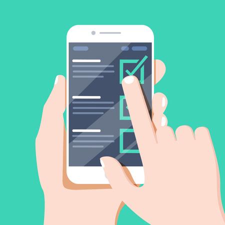 Liste de contrôle sur l'écran du smartphone, cases à cocher avec coche. Liste des achats, tâches à faire, liste de souhaits sur le concept du site. Conception de vecteur mobile contour plat, icône à la mode de qualité supérieure.