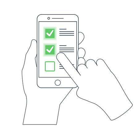 Checklist on smartphone display, checkboxes with check mark. List of purchases, tasks to do or wish list on the website line icon concept. Outline mobile vector design, premium quality trendy icon.