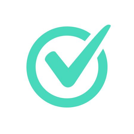 Check mark logo vector or icon. Tick symbol in green color illustration. Accept okey symbol for approvement or cheklist design. Choice minimalistic pictogram