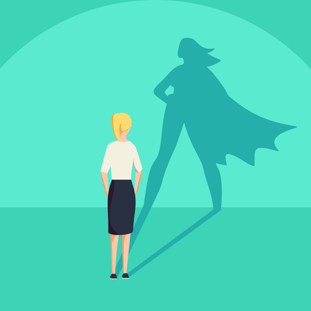 Businesswoman with superhero shadow vector concept. Business symbol of emancipation ambition and success motivation. Leadership or courage and challenge. Eps10 vector illustration. 版權商用圖片 - 95560168