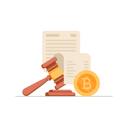 Golden bitcoin coin, paper sheet with text and gavel. Concept of cryptocurrency legislation, digital currency law regulation and legislative control. Vector illustration for web banner, website.