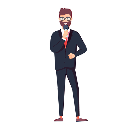 Vector illustration character of smart businessman, holding microphone, standing and talking. Flat design illustration. Illustration
