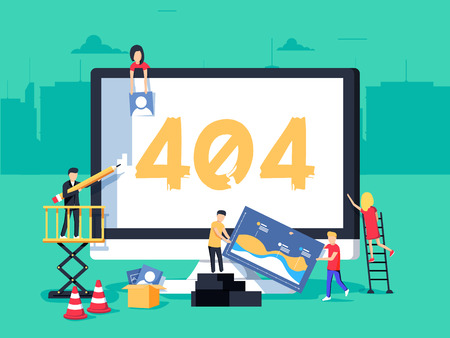 Error 404 page. Builders repair site with crane. Flat vector illustration in cartoon style. Page not found concept illustration of young people using devices to create page. Repairing web