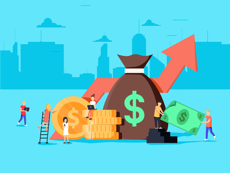 Crowd sourcing and fundraising concept, start up business opportunity for corporate finance. Group of people on financial conference, vector flat illustration. Compound value financial investments.