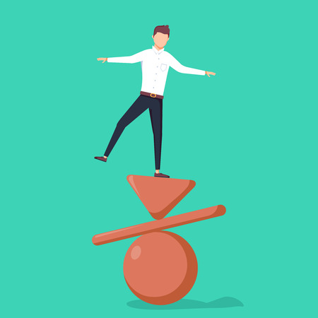 Business concept of balance, vector illustration. Businessman standing on top of inverted pyramid, plank and ball. Symbol of work life balance, equality and stability. Eps10 vector illustration.