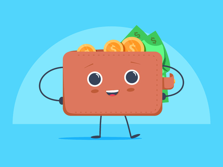 Cute funny cartoon wallet with dollar currency and coins money. Vector image isolated on blue background. Economic savings concept. Business profit success, financial results and earnings revenue.