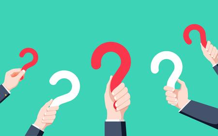 Human hands holding question mark, FAQ in flat design style, vector illustration. Illusztráció