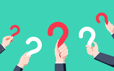 Human hands holding question mark, FAQ in flat design style, vector illustration. Vettoriali