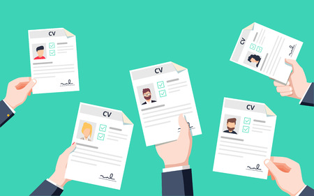 Hands holding CV papers. Human resources management concept, searching professional staff, analyzing resume papers, work. Flat vector illustration.