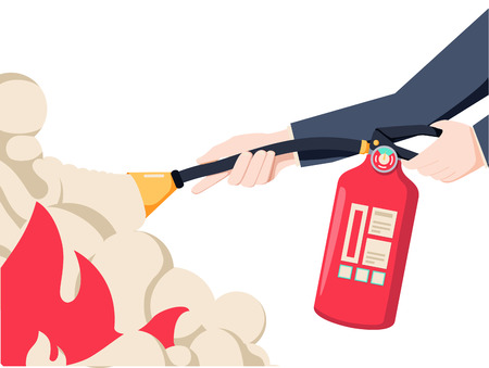 Extinguish fire. Fireman hold in hand fire extinguisher. Vector illustration flat design. Isolated on white background.