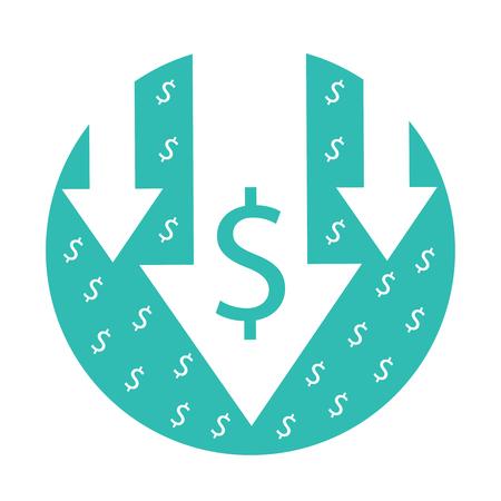 Kostenreductie pictogram. Vector afbeelding geïsoleerd op een witte achtergrond. Pijlen omlaag symbool voor failliet, crisis of financiën afnemend concept. Bedrijfs economische illustratie die op wit wordt geïsoleerd Vector Illustratie