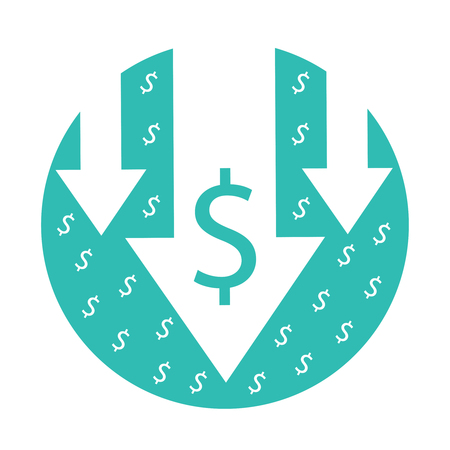 Cost reduction icon. Vector image isolated on white background. Arrows down symbol for bankrupt, crisis or finance decreasing concept. Business economic illustration isolated on white