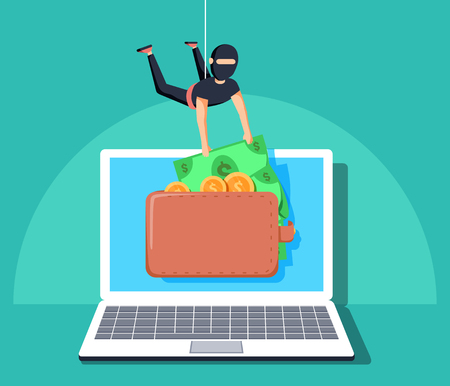 Computer hacker character stealing money online. Vector flat cartoon illustration.