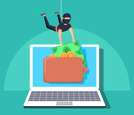 Computer hacker character stealing money online. Vector flat cartoon illustration.