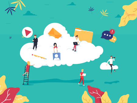 Cloud computing services and technology, data storage flat vector illustration. Network data storage design for mobile and web graphics. Online Database with files, video and photo media.