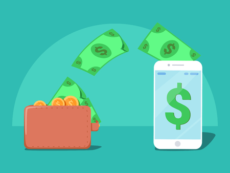 Sending and receiving money wireless with from wallet to mobile phone, fund remittance. Smart phone and purse with cash, banking payment app. Flat style vector illustration icon.