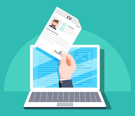 Ressources humaines, demande d'emploi en ligne, concept de vecteur d'entrevue d'emploi. Main tenant le papier CV. Concept de gestion des ressources humaines, recherche de personnel professionnel, analyse des documents de CV, travail. Banque d'images - 96971380