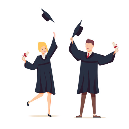 Couple of graduates with diplomas. The guy and the girl graduated from university. Vector illustration in cartoon style. Education, online training courses, distance education. Internet studying