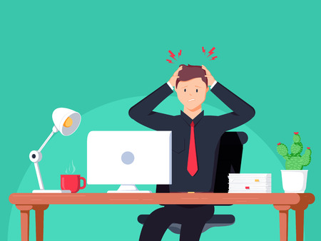 Businessman working in the office. Flat vector illustration in cartoon style. Man have headache on work space. Employment working hard for career growth. Adult life Healthcare concept.