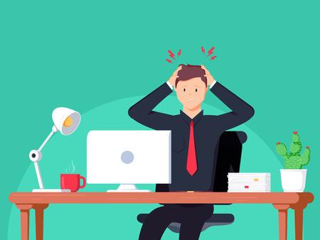 Hombre de negocios trabajando en la oficina. Ilustración de vector plano en estilo de dibujos animados. El hombre tiene dolor de cabeza en el espacio de trabajo. Empleo trabajando duro para el crecimiento profesional. Vida adulta Concepto de salud.