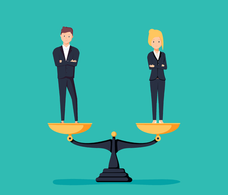 Business gender equality vector concept with businessman and businesswoman on scales on the same height. Symbol of equal pay, salary, fairness and justice and emancipation. Eps10 vector illustration. Stock Illustratie