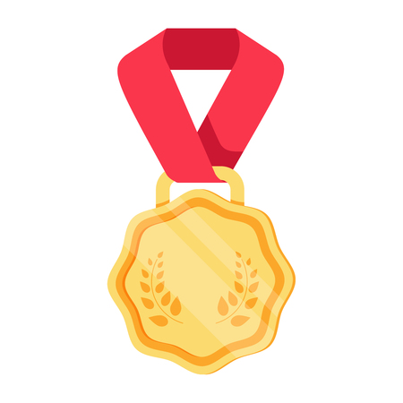Win medal icon award prize illustration. First place sign success symbol. Reward program. Win super prize achievement