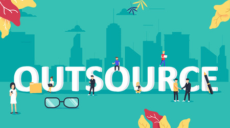 Outsourcing concept illustration. Idea of finding new staff and sources. Business company remote workers.