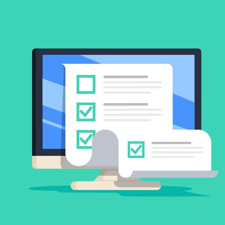 Online form survey on computer vector illustration, flat cartoon desktop pc showing long quiz exam paper