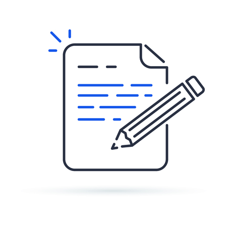 Contract terms and conditions. Document paper and creative writing or storytelling, business brief text, write summary for assignment vector line icon thin stroke illustration. Иллюстрация