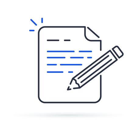 Términos y condiciones del contrato. Documente el papel y la escritura creativa o la narración de cuentos, el texto breve de negocios, escriba el resumen para la ilustración de trazo fino de icono de línea de vector de asignación. Ilustración de vector