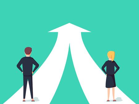 Geschäftszusammenarbeits- und Partnerschaftsvektorkonzept. Frau und Mann, die für gemeinsames Ziel zusammenarbeiten.