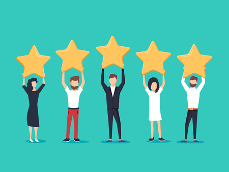 Five stars rating flat style vector concept. People are holding stars over the heads.