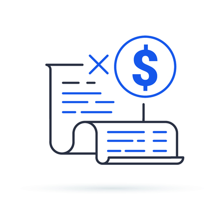 Cash back, earn points for every purchase concept, reward program discount coupon vector line icon. Money cashback symbol for business, promotion and advertising. Flat design vector illustration.