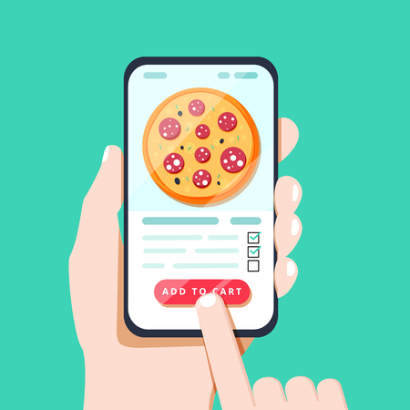 Choosing pizza on mobile smart phone app. Tapping on the screen making pizza delivery order in convenient application. Smartphone fast food online ordering flat style isolated vector illustration.