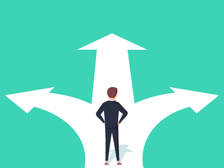 Business decision concept vector illustration. Businessman standing on the crossroads with two arrows and directions vector illustration. Çizim
