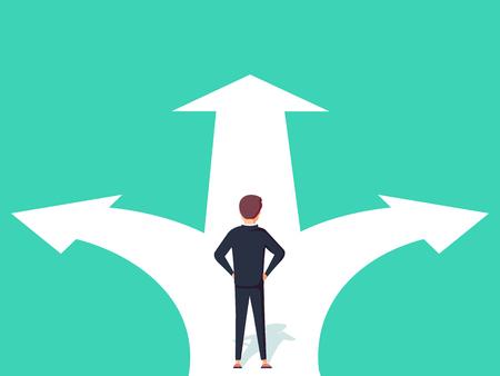 Geschäftsentscheidungskonzept-Vektorillustration. Der Geschäftsmann, der auf der Kreuzung mit zwei Pfeilen und Richtungen steht, vector Illustration. Vektorgrafik