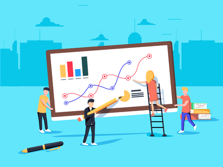 Flat style and blue color vector illustration of business analytics and marketing concept. Team working on business report and analytics.