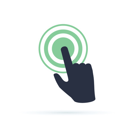 Black hand pushing on green button. Concept of new fast start up symbol or forefinger hit or tap on key for beginning process. Flat style simple launch logo graphic design isolated on white background Ilustração