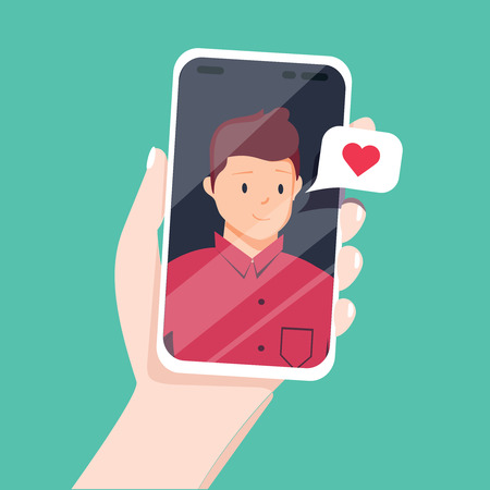 Video call with loved one. Female hand holding smartphone with boyfriend on screen. Online dating, long distance relationship concept. Flat cartoon vector illustration. Couple talking in messenger