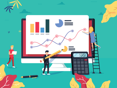 ROI concept. Return on investment business marketing. Profit income. Businessman managing financial chart. Vector illustration flat design.  Analysis data. 矢量图像
